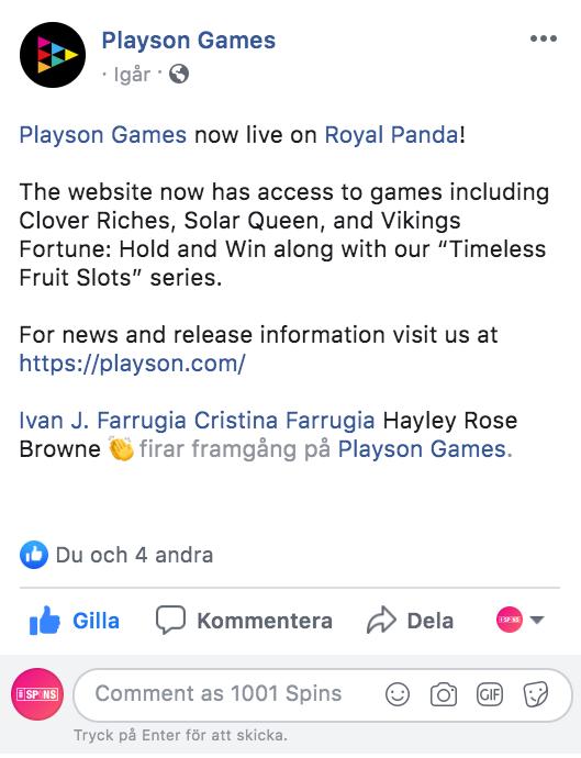 Playson-live-at-Royal-Panda-Facebook-announcement