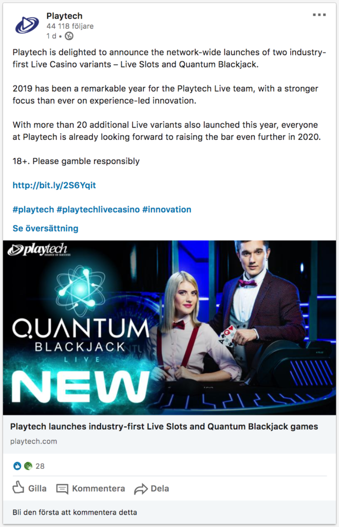 Quantum-Blackjack-Social-media-announcement-by-Playtech-