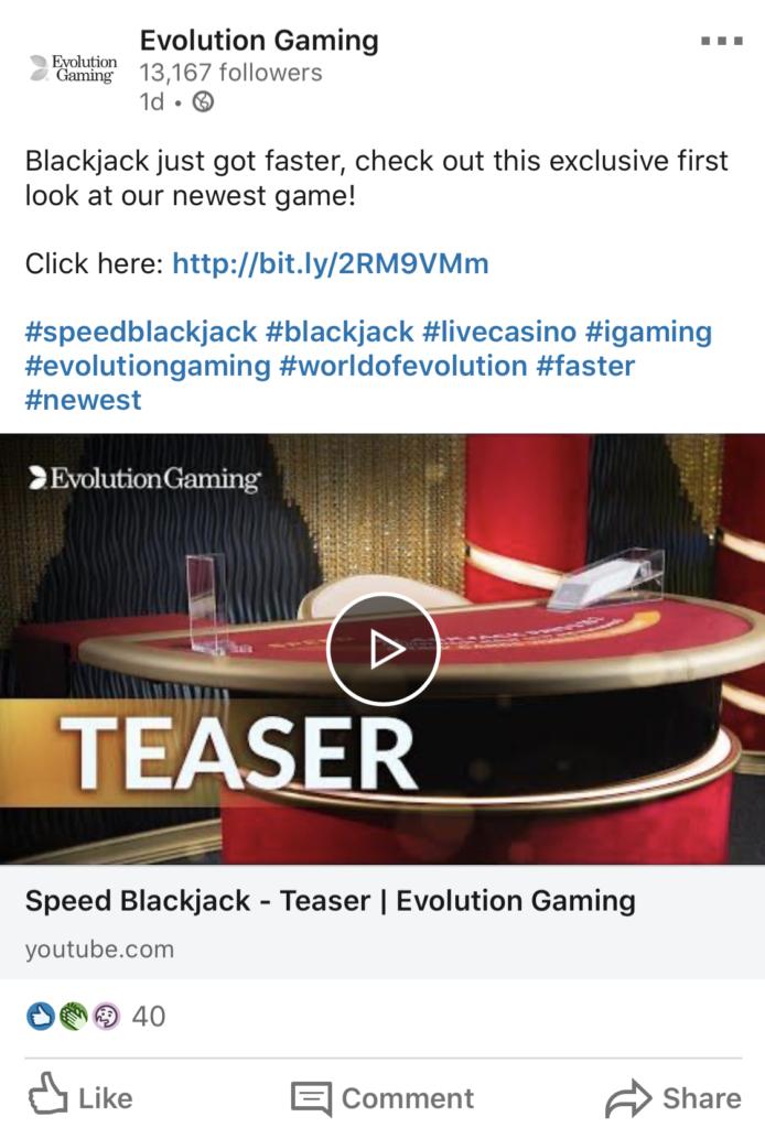 Speed Blackjack by Evolution Gaming announced on social media